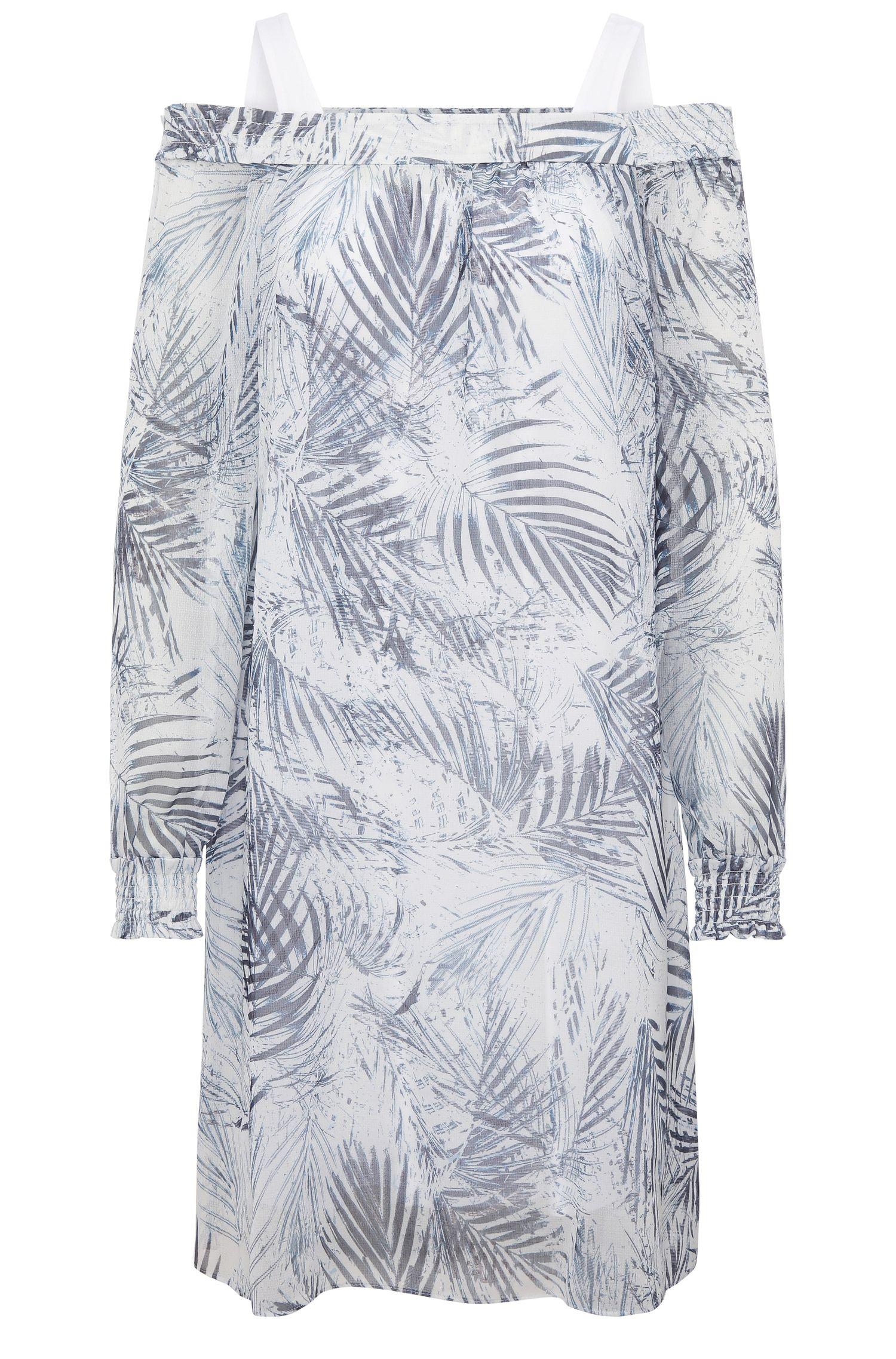 Vestido con hombros caídos relaxed fit en mezcla de materiales con estampado de palmeras: 'Acarmy'