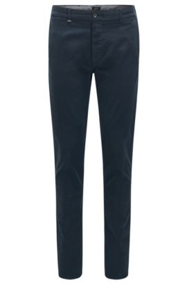 Regular-fit chinos in stretch cotton with selvedge edges: 'Fremont-Edge-20', Dark Blue