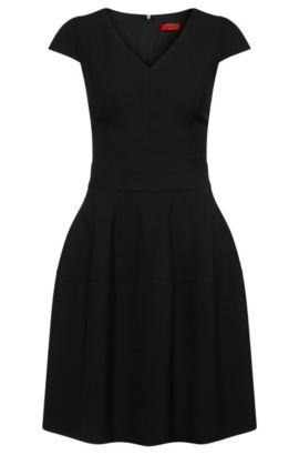 Plain dress with V-neck: 'Konelly', Black