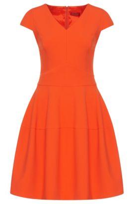 Vestido liso con escote en pico: 'Konelly', Naranja