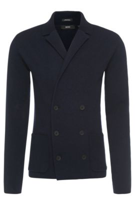 Regular-fit cardigan in new-wool blend with double-breasted button placket: 'Irick', Dark Blue
