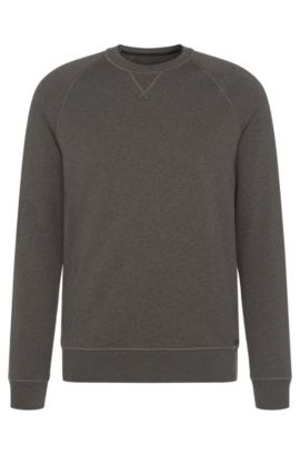 Mottled slim-fit sweatshirt in cotton with raglan sleeves: 'Skubic 18-WS', Grey