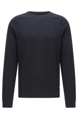 Mottled slim-fit sweatshirt in cotton with raglan sleeves: 'Skubic 18-WS', Dark Blue
