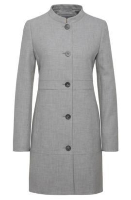 Single-breasted coat in material blend with viscose: 'Okirana5', Grey