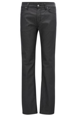 Regular-fit jeans in pin-point fabric, Black