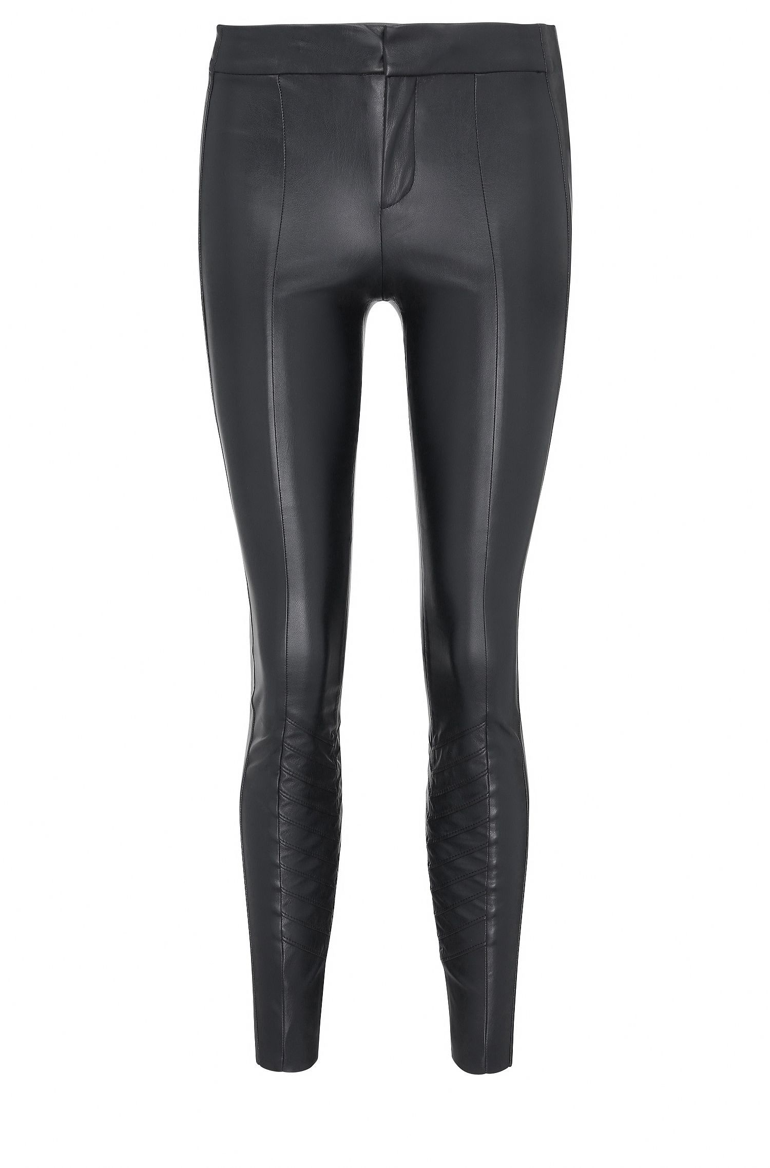 Skinny-fit faux leather trousers with decorative stitching: 'Sileda'