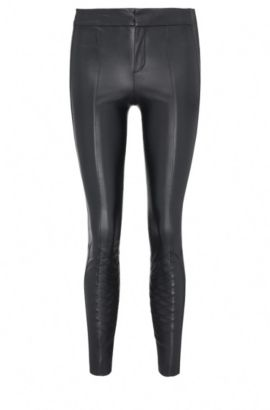 Skinny-fit faux leather trousers with decorative stitching: 'Sileda', Dark Blue