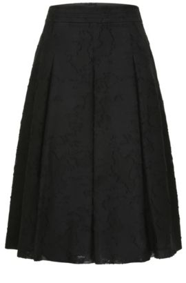 Box pleat skirt with a floral texture in cotton blend with silk: 'Bablumy', Patterned