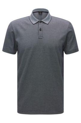 Polo Regular Fit en coton, au motif raffiné: «Parlay 07», Bleu foncé