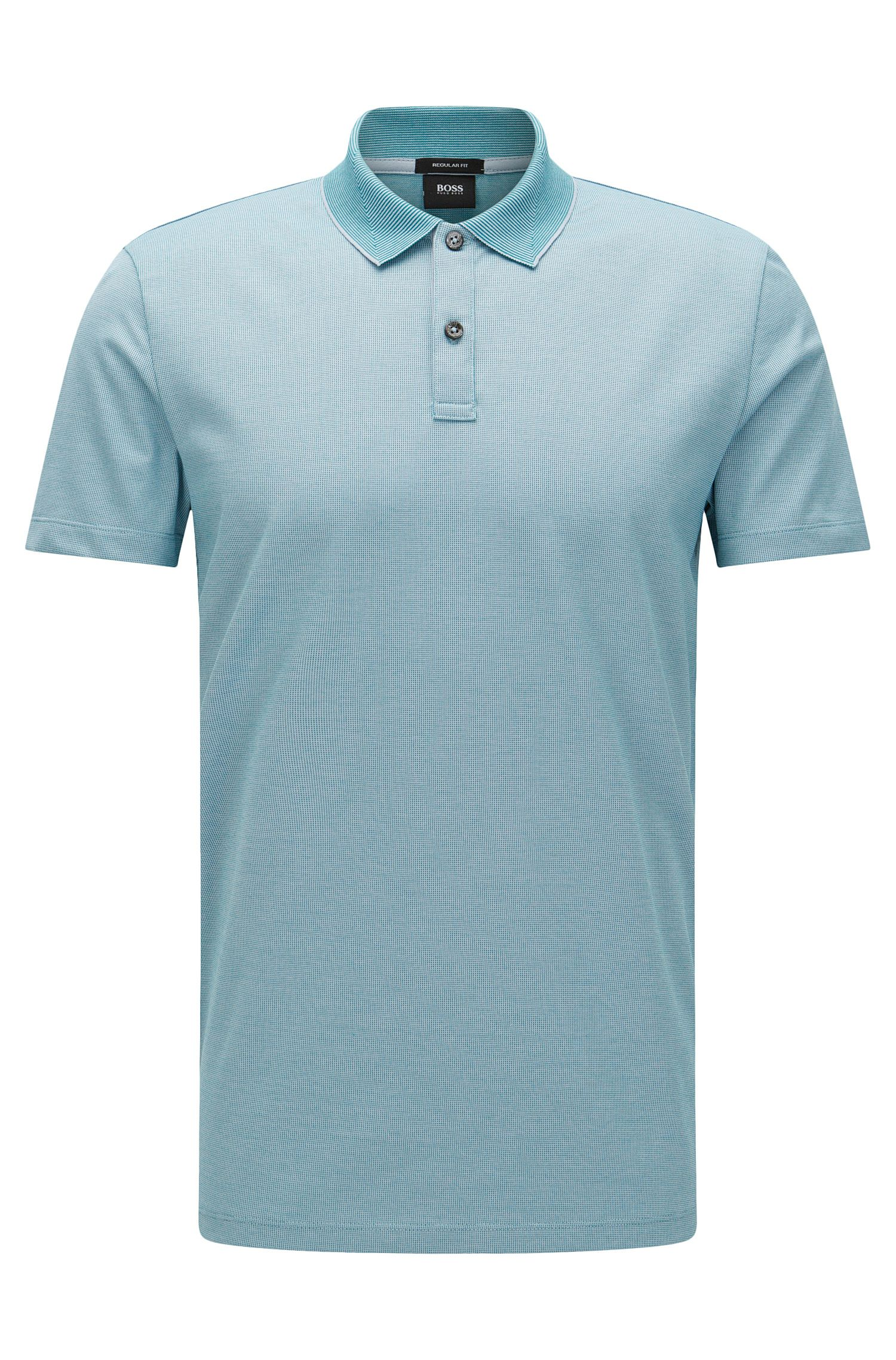 Finely patterned regular-fit polo shirt in cotton: 'Parlay 07'
