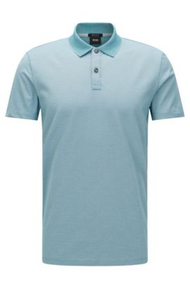 Finely patterned regular-fit polo shirt in cotton: 'Parlay 07', Light Blue