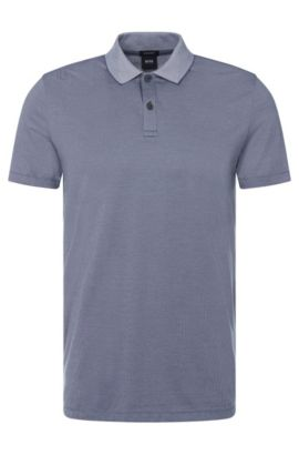 Finely patterned regular-fit polo shirt in cotton: 'Parlay 07', Open Blue