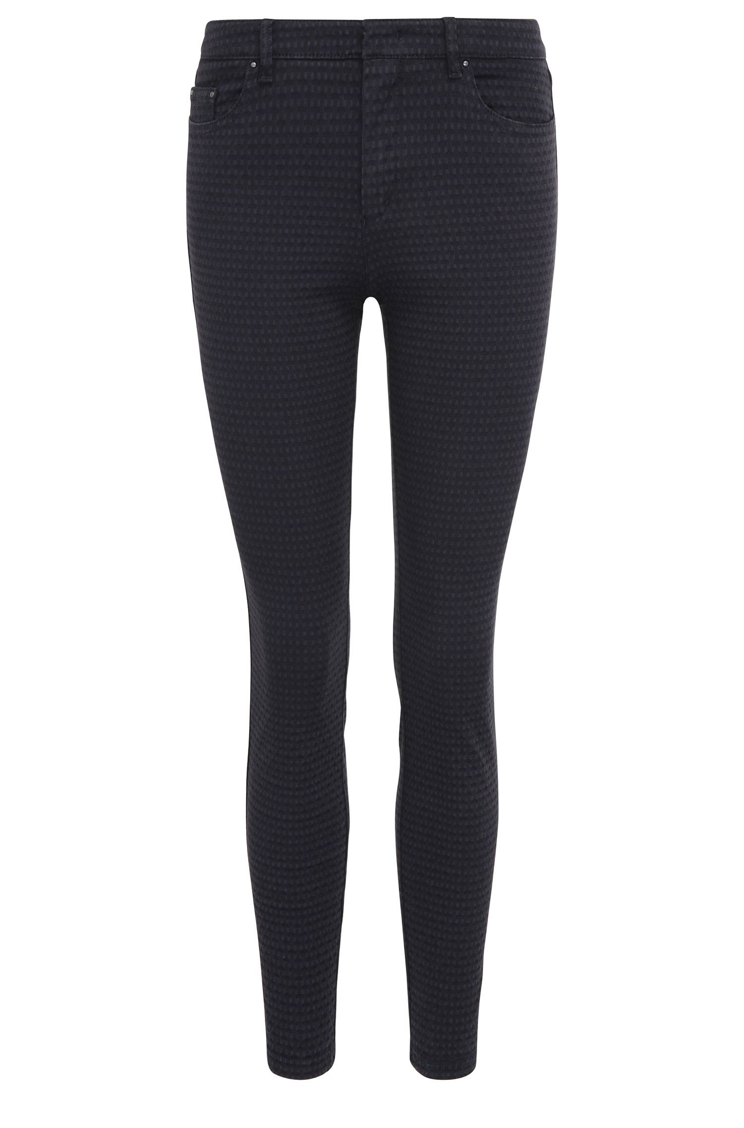 Skinny-fit trousers in stretch cotton blend with a woven texture: 'Sobina1-D'