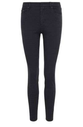 Skinny-fit trousers in stretch cotton blend with a woven texture: 'Sobina1-D', Dark Blue