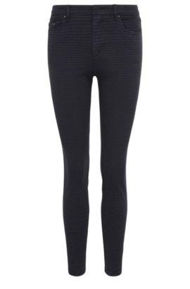 Pantalón skinny fit en mezcla de algodón elástico con textura tejida: 'Sobina1-D', Azul oscuro