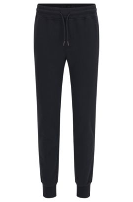 Mottled sweat trousers in cotton with zip pockets: 'Lamont 03-WS', Dark Blue