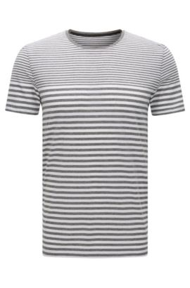 Striped slim-fit t-shirt in cotton: 'Tessler 48-WS', Grey