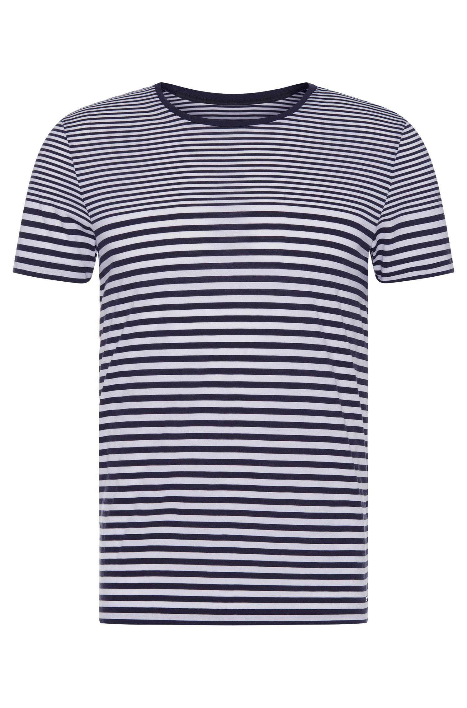 Slim-fit T-shirt van katoen met streepdessin: 'Tessler 48-WS'
