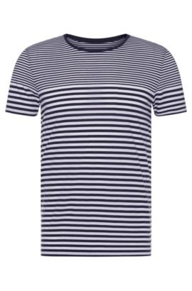 T-shirt a righe slim fit in cotone: 'Tessler 48-WS', Blu scuro