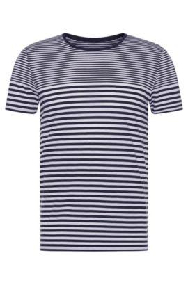 Slim-fit T-shirt van katoen met streepdessin: 'Tessler 48-WS', Donkerblauw