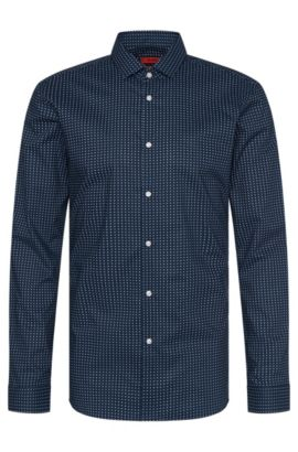 Slim-fit overhemd van katoen met dessin: 'Erondo', Donkerblauw