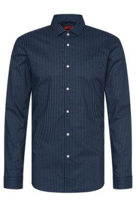 Gemustertes Slim-Fit Hemd aus Baumwolle: 'Erondo', Dunkelblau