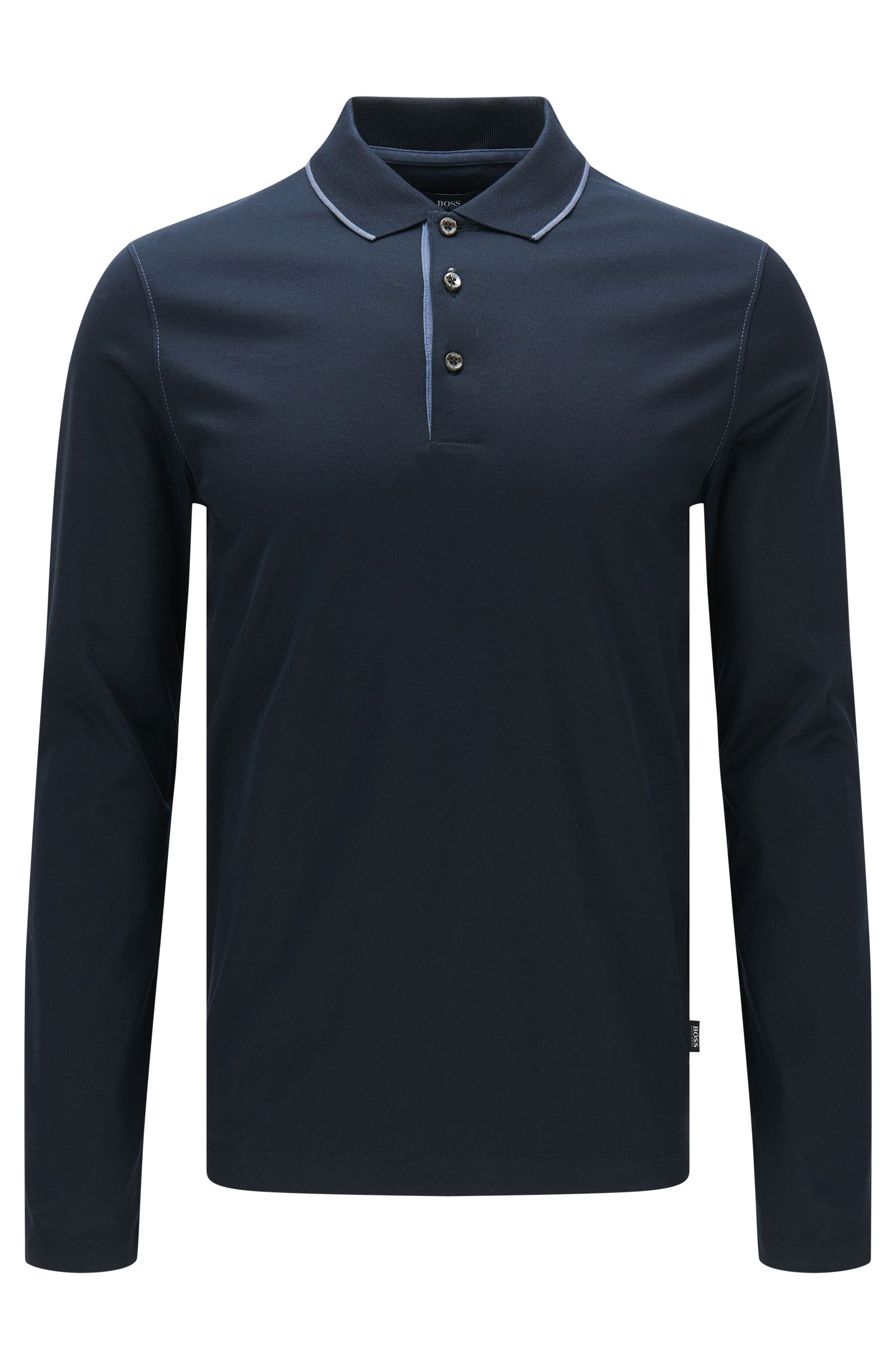 Slim-fit long-sleeved polo shirt in mercerised cotton: 'Paschal 02'