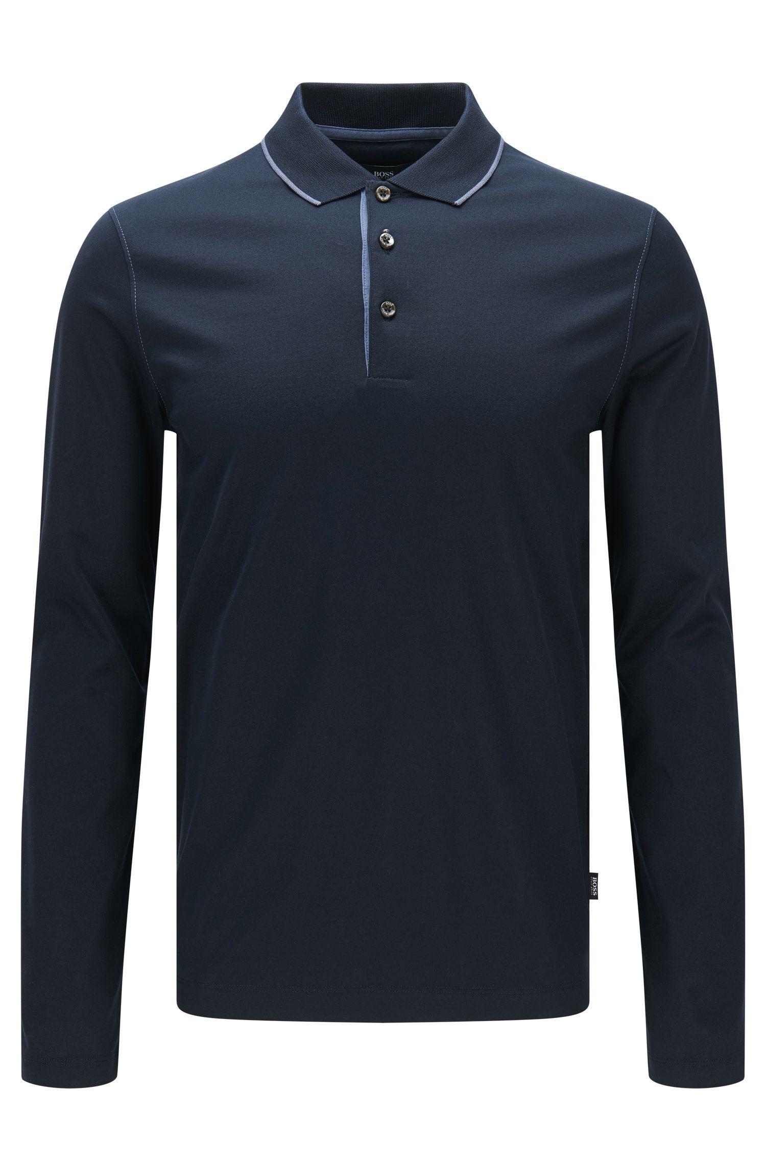 Slim-Fit Longsleeve-Poloshirt aus merzerisierter Baumwolle: 'Paschal 02'