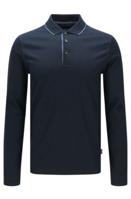 Slim-fit long-sleeved polo shirt in mercerised cotton: 'Paschal 02', Dark Blue