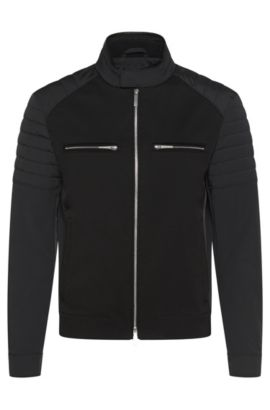 Water-repellent biker jacket with leather detailing: 'Chead1' from the Mercedes-Benz Collection, Black