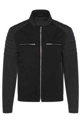 Wasserabweisende Biker-Jacke mit Leder-Details: 'Chead1' aus der Mercedes-Benz Kollektion, Schwarz