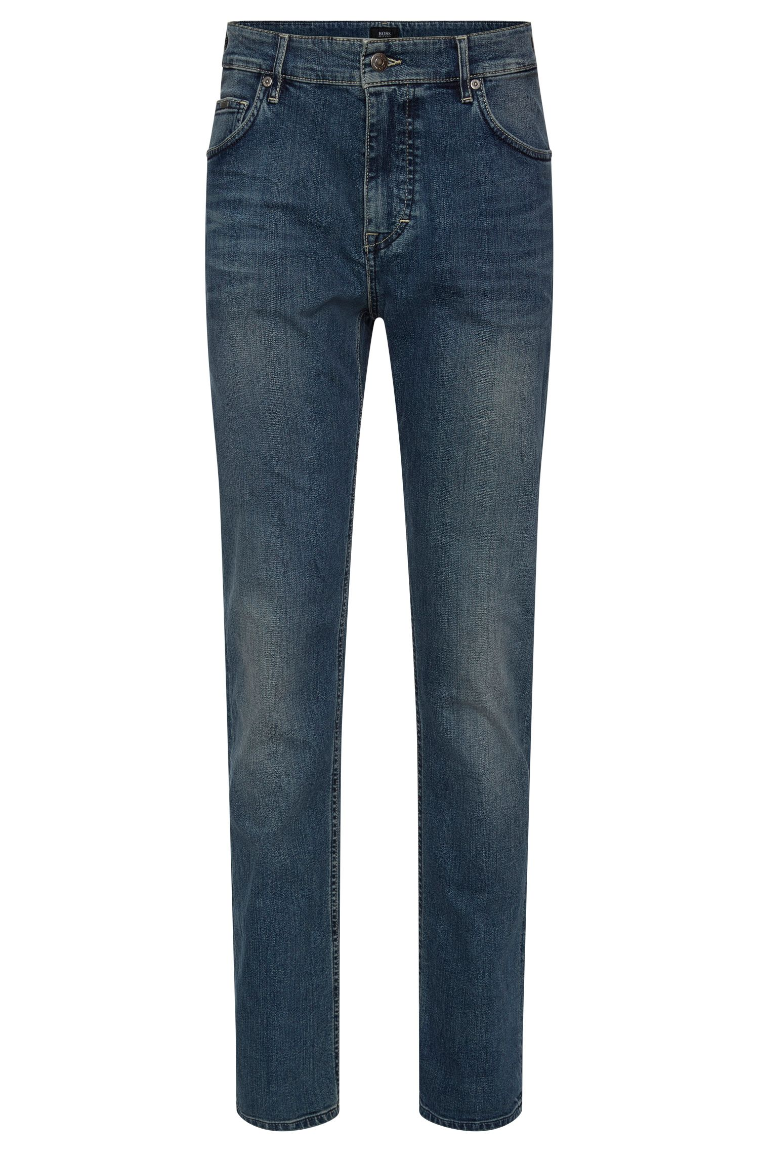 Relaxed-fit jeans in stretch cotton with used wash: 'Albany'