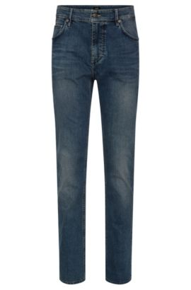 Relaxed-fit jeans van stretchkatoen met used-wassing: 'Albany', Blauw