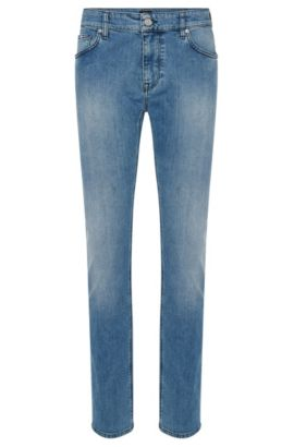 Regular-fit jeans in stretch cotton with a rinsed look: 'Maine3', Turquoise