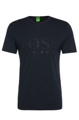 T-shirt imprimé en coton stretch: «Tee US», Bleu foncé