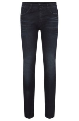 Slim-fit jeans in stretchy cotton with a subtle used-look wash: 'Delaware3', Blue