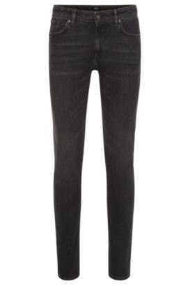 Slim-fit jeans van stretchkatoen met subtiele used-wassing: 'Charleston3', Antraciet
