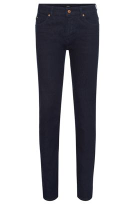 Slim-fit jeans in stretch-cotton blend: 'Delaware3-1', Dark Blue
