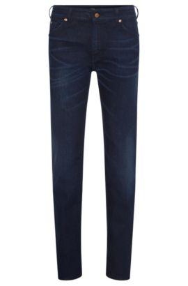 Regular-fit jeans van een elastische katoenmix met used-wassing: 'Maine3', Blauw