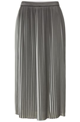 Two-tone midi-length pleated skirt in mixed materials: 'Baplissa', Patterned