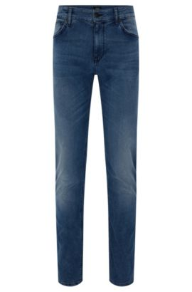 Regular-fit jeans in cotton blend with whisker creases: 'Maine3', Blue