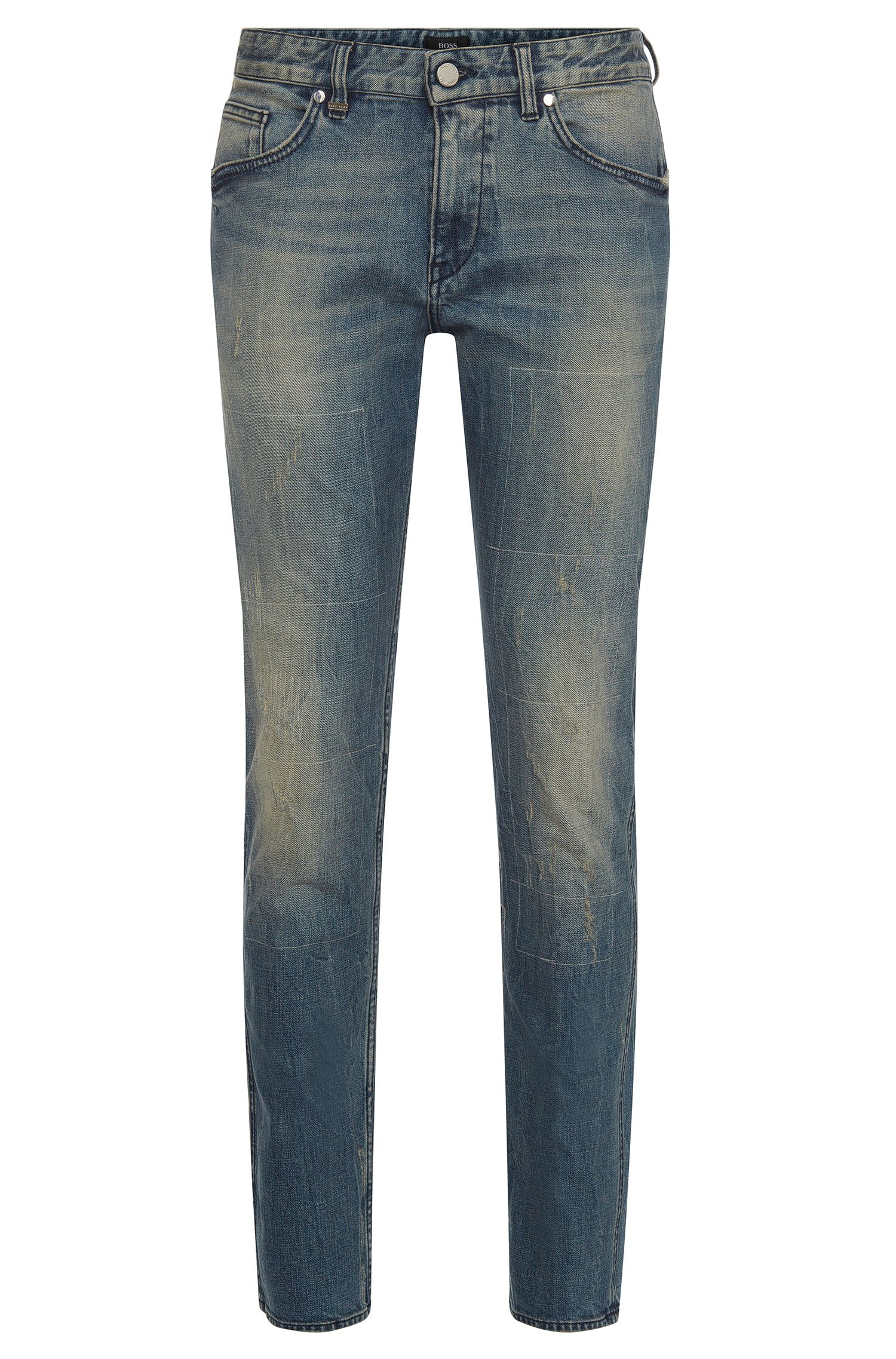 Slim-fit jeans in stretch cotton with used effects: 'Delaware3'