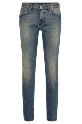 Slim-fit jeans in stretch cotton with used effects: 'Delaware3', Blue