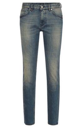 Slim-Fit Jeans aus Stretch-Baumwolle mit Used-Effekten: 'Delaware3', Blau