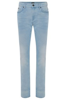 Slim-fit cotton-blend jeans with subtle used-look wash: 'Delaware3-1', Turquoise