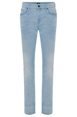 Jeans Slim Fit en coton mélangé aux discrets effets délavés et usés: «Delaware3-1», Turquoise