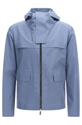Water-repellent hooded jacket in a material blend: 'Ceberus1', Blue