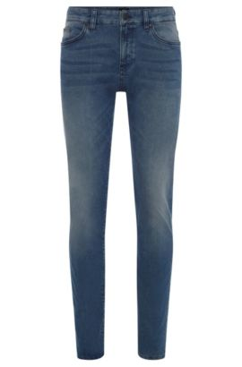 Slim-fit cotton-blend jeans with subtle used-look wash: 'Delaware3-1', Blue