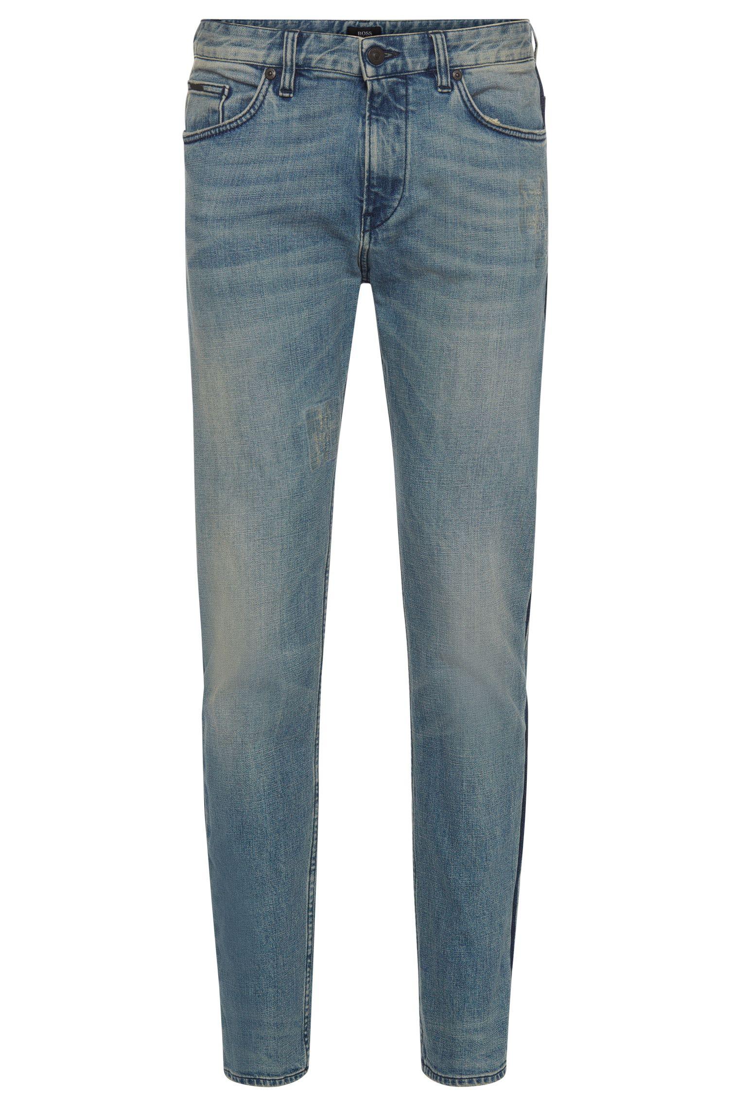 Jeans slim fit in cotone elasticizzato con effetti vintage: 'Delaware3'
