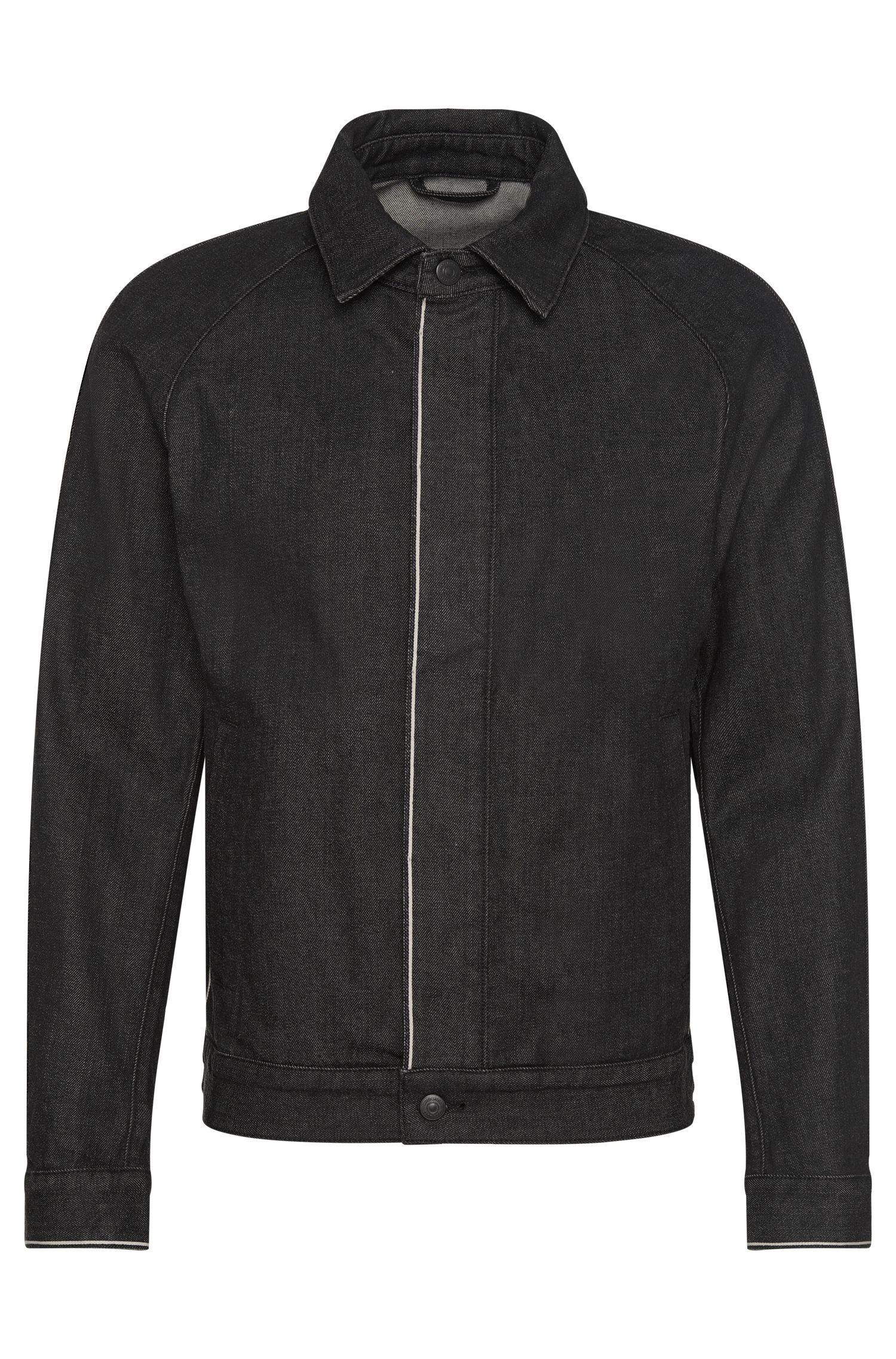 Giubbino di jeans slim fit in cotone elasticizzato con allacciatura a bottoni nascosta: 'Chicago'